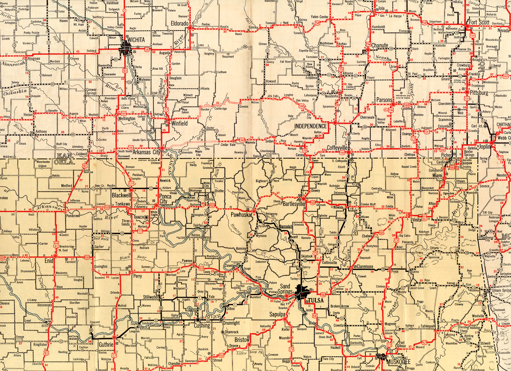 1932 Texaco Highway Map of Southern Kansas and Northern Oklahoma on kansas state physical map, map of kansas and oklahoma, kansas soil maps, missouri pacific railroad map oklahoma,