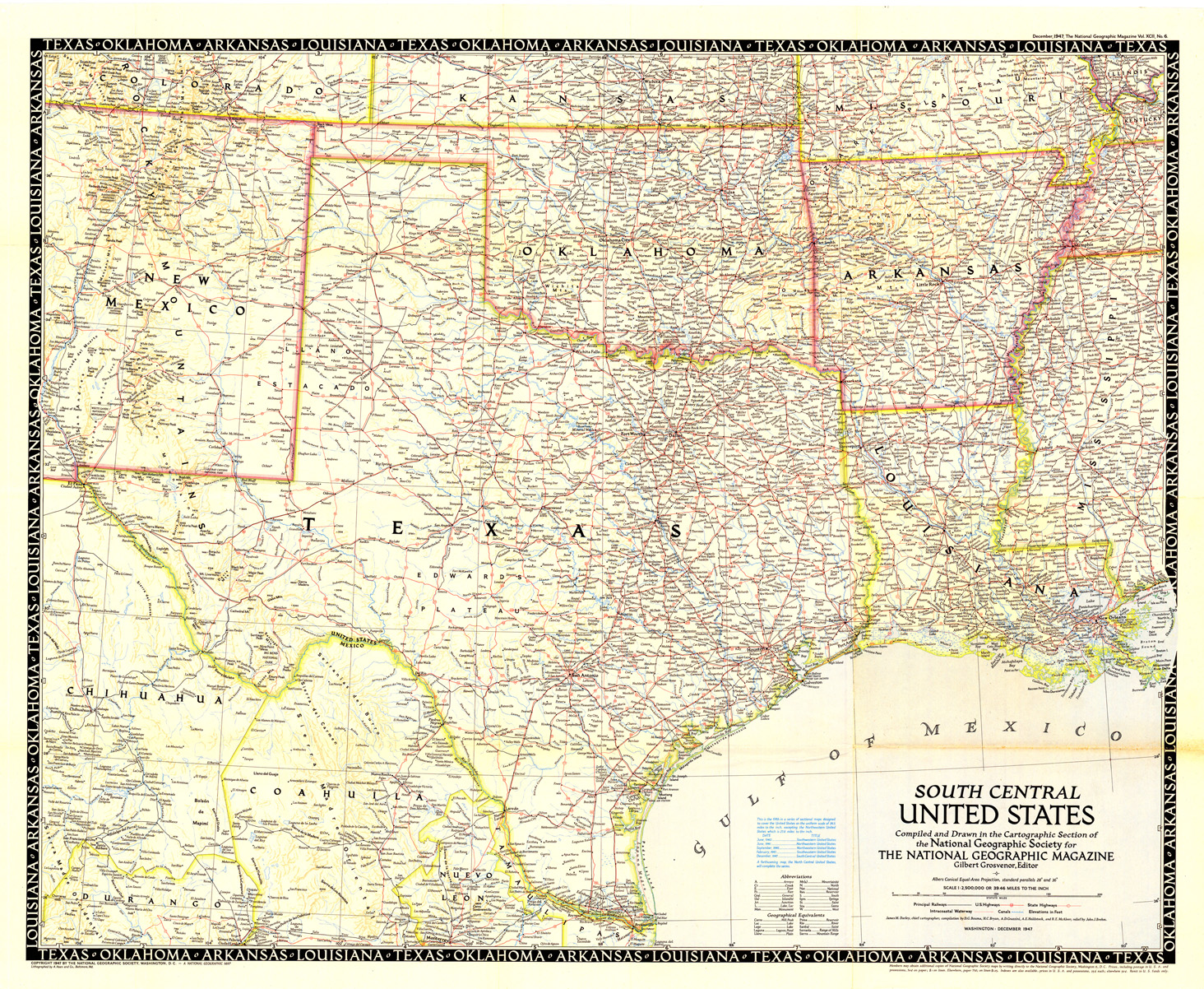 Large Map Of Texas.1948 Highway And Railroad Map
