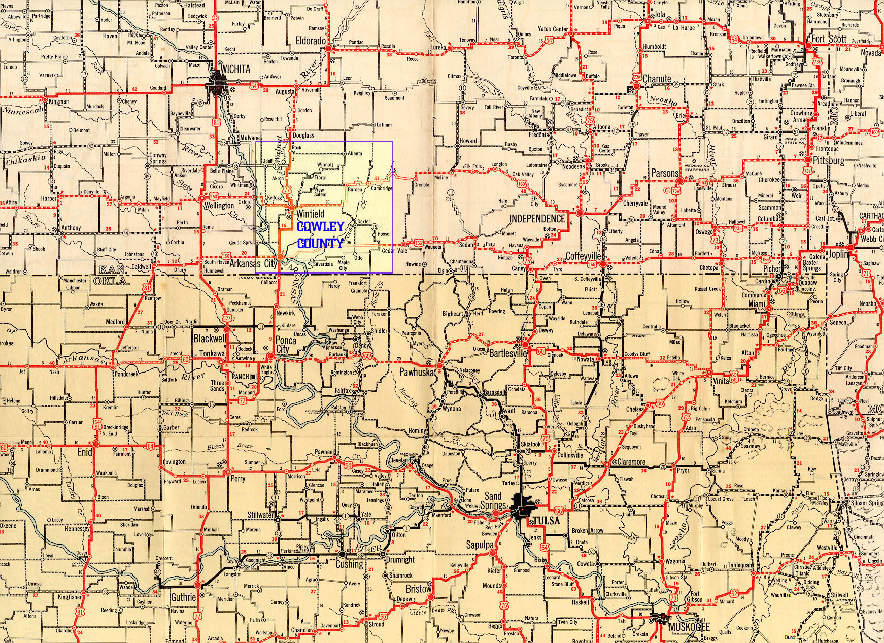 1932 Texaco Highway Map Of Southern Kansas And Northern
